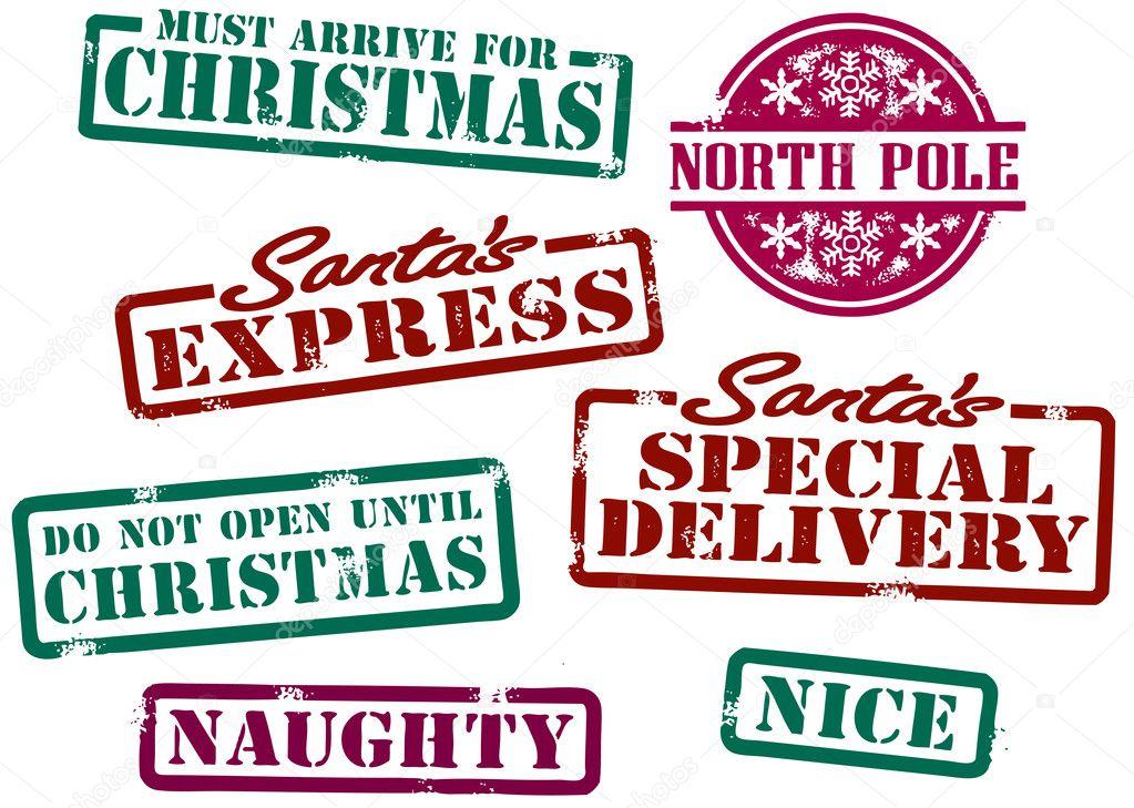 Download - Santa Christmas Stamps — Stock Illustration #7678545
