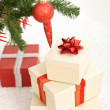 Christmas presents under the fir tree — Stock Photo