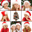图库照片: Expressions of kids having fun at christmas time
