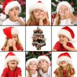 Ausdrucksformen der Kinder, die Spaß an der Weihnachtszeit — Stockfoto