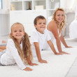 Stretching fun with mom — Stock Photo