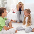 Stock Photo: Kids having quarrel and fight