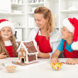 Santa came earlier this year - family having fun in the kitchen — Stock Photo