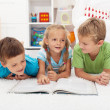 Kids practice reading and story telling — Stock Photo