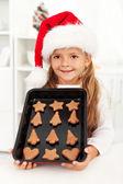 счастливые выпечки печенье рождество девушка — Стоковое фото