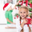 The thrill of christmas in childhood — Stockfoto