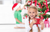 The thrill of christmas in childhood — Stock Photo