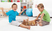 Boy wins chess game — Stock Photo