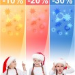 Crazy christmas sale banners with little girl — Stock Photo