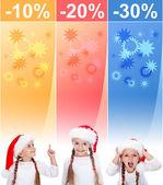 Crazy jul försäljning banners med liten flicka — Stockfoto