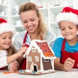 Our christmas gingerbread cookie house — Stock Photo