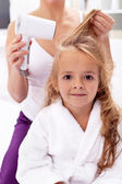Drying hair - personal hygiene — Stock Photo