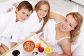 Breakfast in bed for mom — Stock Photo