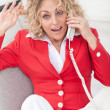 Businesswoman or secretary on the phone — Stock Photo