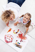 Painting with mom — Stock Photo