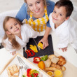 Preparing healthy breakfast together - top view — Stock Photo