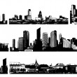 Stock Vector: Black and white panorama cities. Vector art