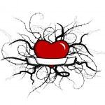 Heart with plants around. Vector art — Stock Vector