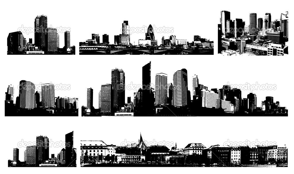 Black and white panorama cities. Vector art — Stock Vector #6939142