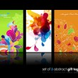 Set of abstract colorful splash and flower gift cards with refle — Stockvektor