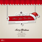 Christmas card with red hat. — Stock Vector