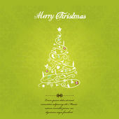 Vector christmas tree on green textured background. — Stock Vector