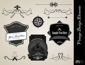 Collection of black and white ornate labels — Stock Vector