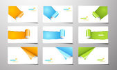 Set of gift cards with rolled corners. — Vector de stock