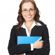 Businesswoman with blue folder, isolated — Stock Photo