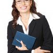 Businesswoman with notepad or organizer, isolated — Stock Photo