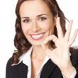 Business woman with okay gesture, on white — Stock Photo #6931145