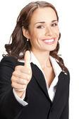 Affärskvinna med tummen upp, på vitt — Stockfoto