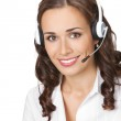 Support phone operator in headset, isolated — Stock Photo #7024086