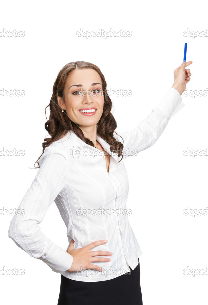 Happy smiling young beautiful business woman showing blank area for sign or copyspase, isolated over white background — Stock Photo #7024021