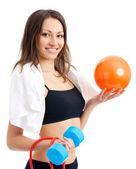 Woman with dumbbell, ball and expander, on white — Stock Photo
