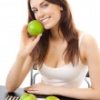 Young happy smiling woman with apples, isolated — Stock Photo