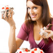 Young hungry gluttonous woman eating pie, isolated — Stock Photo #7237474