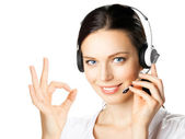 Support operator with okay gesture, on white — Stock Photo