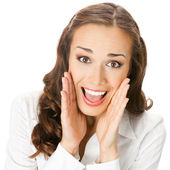 Happy smiling surprised business woman, isolated — Stock Photo