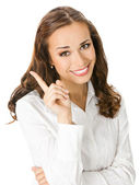 Businesswoman showing, on white — Stock Photo