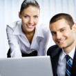 Stok fotoğraf: Two business working with laptop