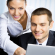 Two business working with laptop — Stok fotoğraf