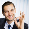 Business man with okay hand sign at office — Stock Photo #7397930