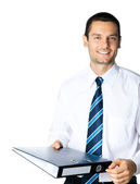 Businessman with folder, on white — Stock Photo