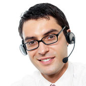 Customer support phone operator in headset, isolated — Stock Photo