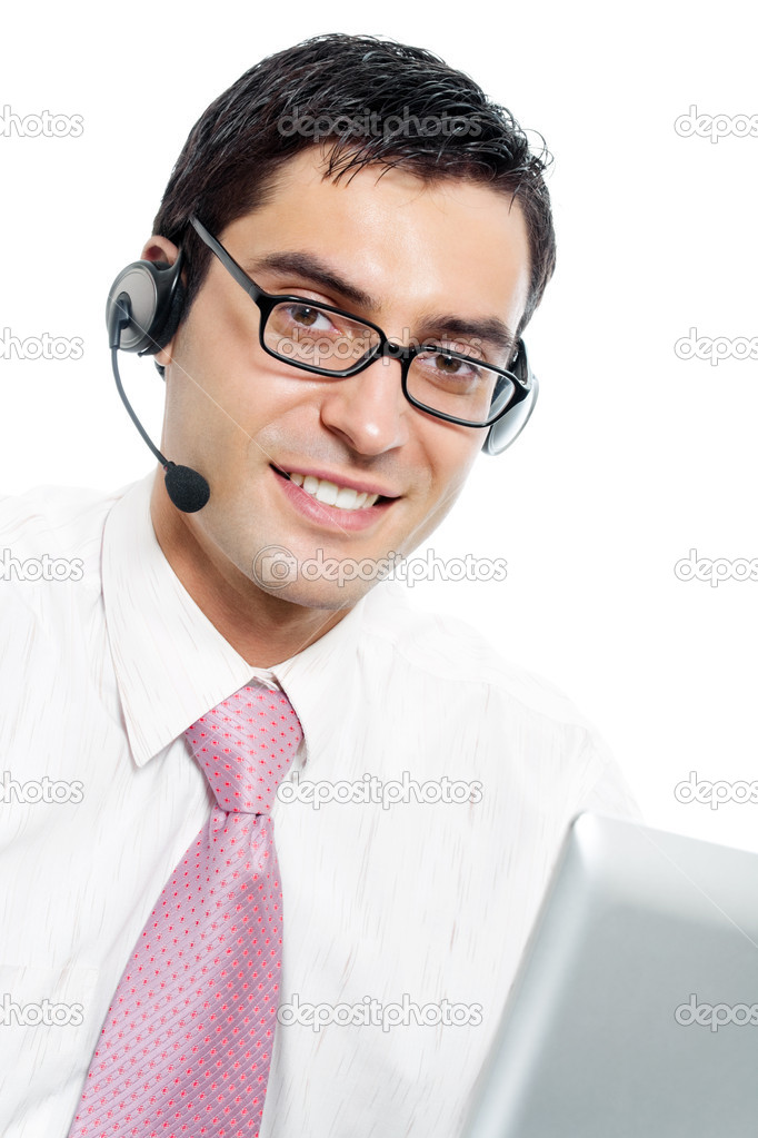 Portrait of happy smiling cheerful support phone operator in headset, isolated over white background — Stock Photo #7506901