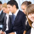 Portrait of successful businesswoman at conference — Stock Photo