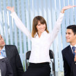 Successful happy businesswoman and businessteam at office — Stock Photo #7511452