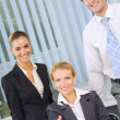 Portrait of cheerful successful business team at office — Stock Photo #7511874