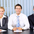 Stock Photo: Businessteam, board meeting or selection committee at office
